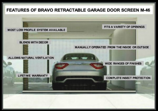 FEATURES OF BRAVO RETRACTABLE GARAGE DOOR SCREEN M-46